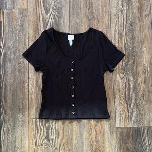 H&M Black Ribbed T-Shirt